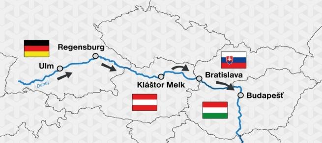 Mapa Donau Masters Ulm-Budapest