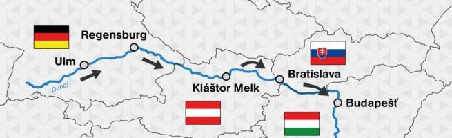Mapa trasy Ulm-Budapest